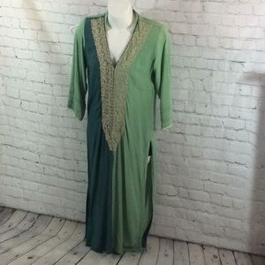 Limelight Kurta Kurti Pakistani green gold Small